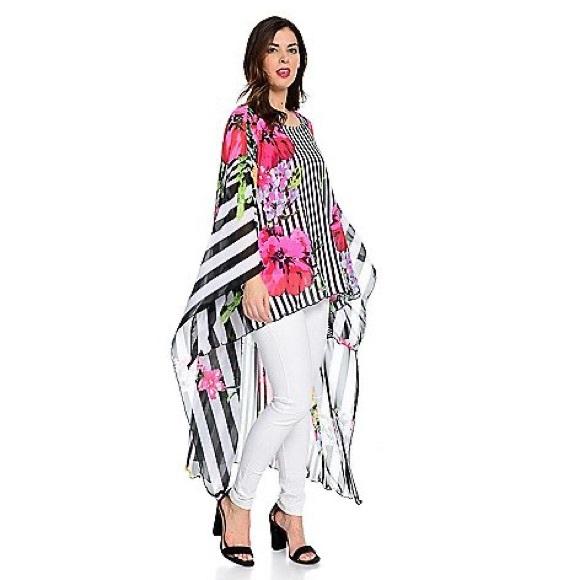 🔥Nygard Stripe & Floral Mesh Cape